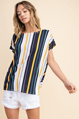 124 Navy stripe top