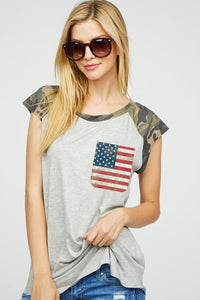 149 Camo Sleeve Top