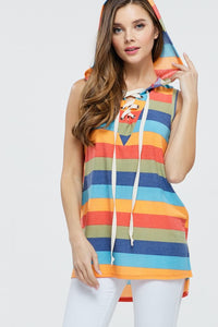 151 Striped Sleeveless Hoodie