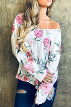 156 Ivory Floral Twist Back top