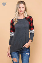 120 Buffalo Check sleeve Top