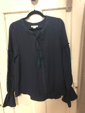 187 Navy Embroidered top