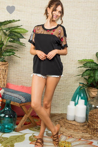 166 Mesh Embroidered Top