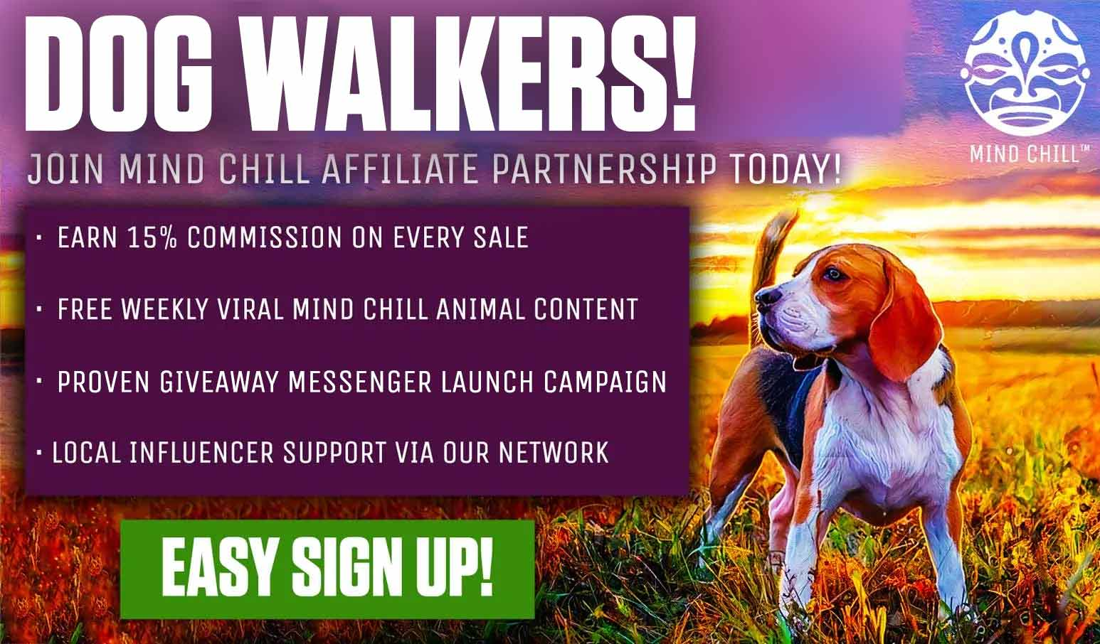 Dog walkers mind chill affiliate partnership registration
