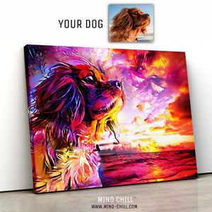 landscape example of custom pet portrait mind chill canvas art - California sunset style featuring your dog or pet
