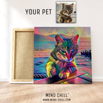 custom pet portrait mind chill canvas art - cosmic paint style featuring your cat or pet