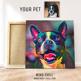 custom pet portrait of french bulldog mind chill canvas art - cosmic paint style featuring your dog or pet