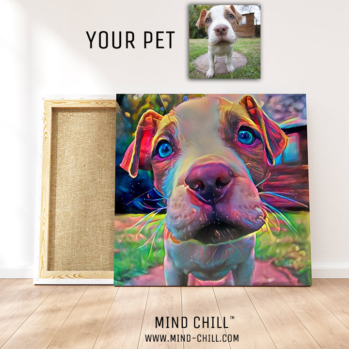 cute custom pet portrait mind chill canvas art - cosmic paint style featuring your dog or pet