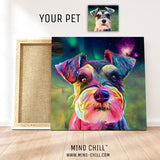 custom pet portrait mind chill canvas art - cosmic paint style featuring your dog - pet portrait example gift for dog lover