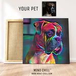 custom boxer dog pet portrait mind chill canvas art - cosmic paint style featuring your dog or pet