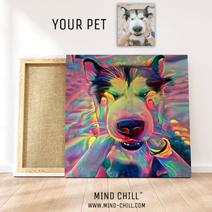 custom pet portrait mind chill canvas art - cosmic paint example style featuring your dog or pet