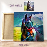 Custom horse wall art portrait in a rainbow style canvas featuring your horse and made by Mind Chill Artists