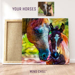 Custom horse and foal wall art portrait in a rainbow style featuring your horse and made by Mind Chill Artists