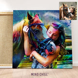 Custom horse wall art portrait featuring your horse and daughter in a rainbow style canvas made by Mind Chill Artists