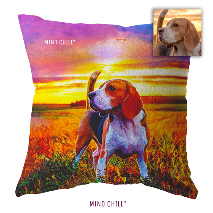 Sunset Dreams style Mind Chill, custom pet pillow, custom pet photo pillow, custom pillow of your pet