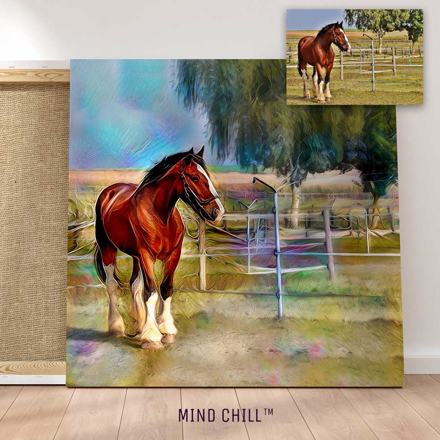 Beautiful custom horse wall art portrait in a rainbow style featuring your horse and made by Mind Chill Artists