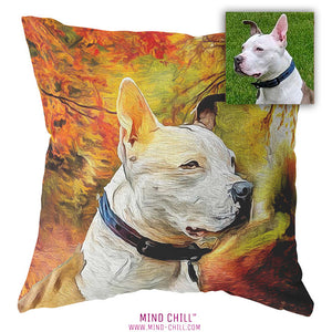 Fall impressionist art, custom pet pillow, custom pet photo pillow, custom pillow of your pet