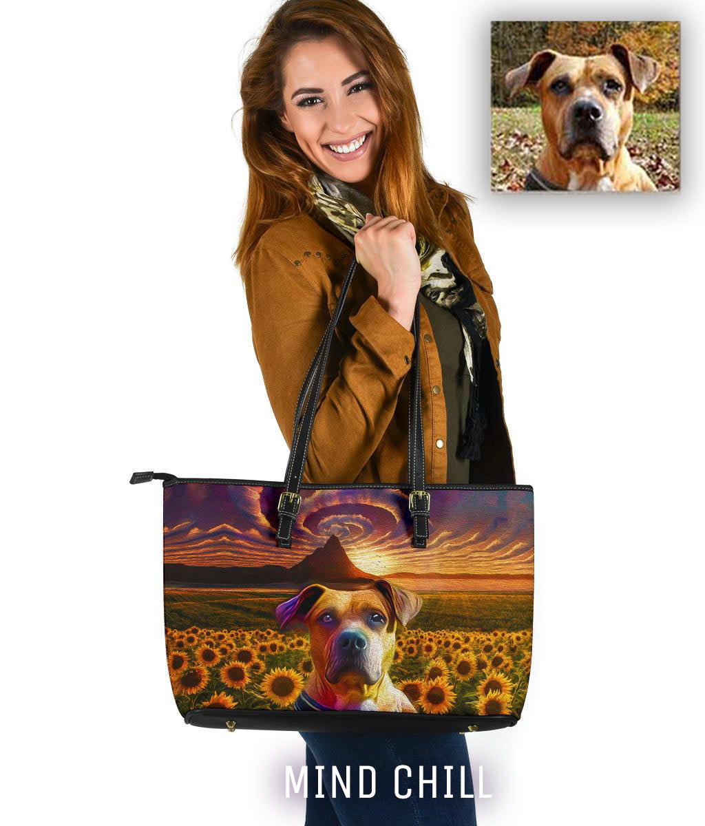 Custom Pet Portrait Leather Tote Bag - Sunflower Storm Mind Chill