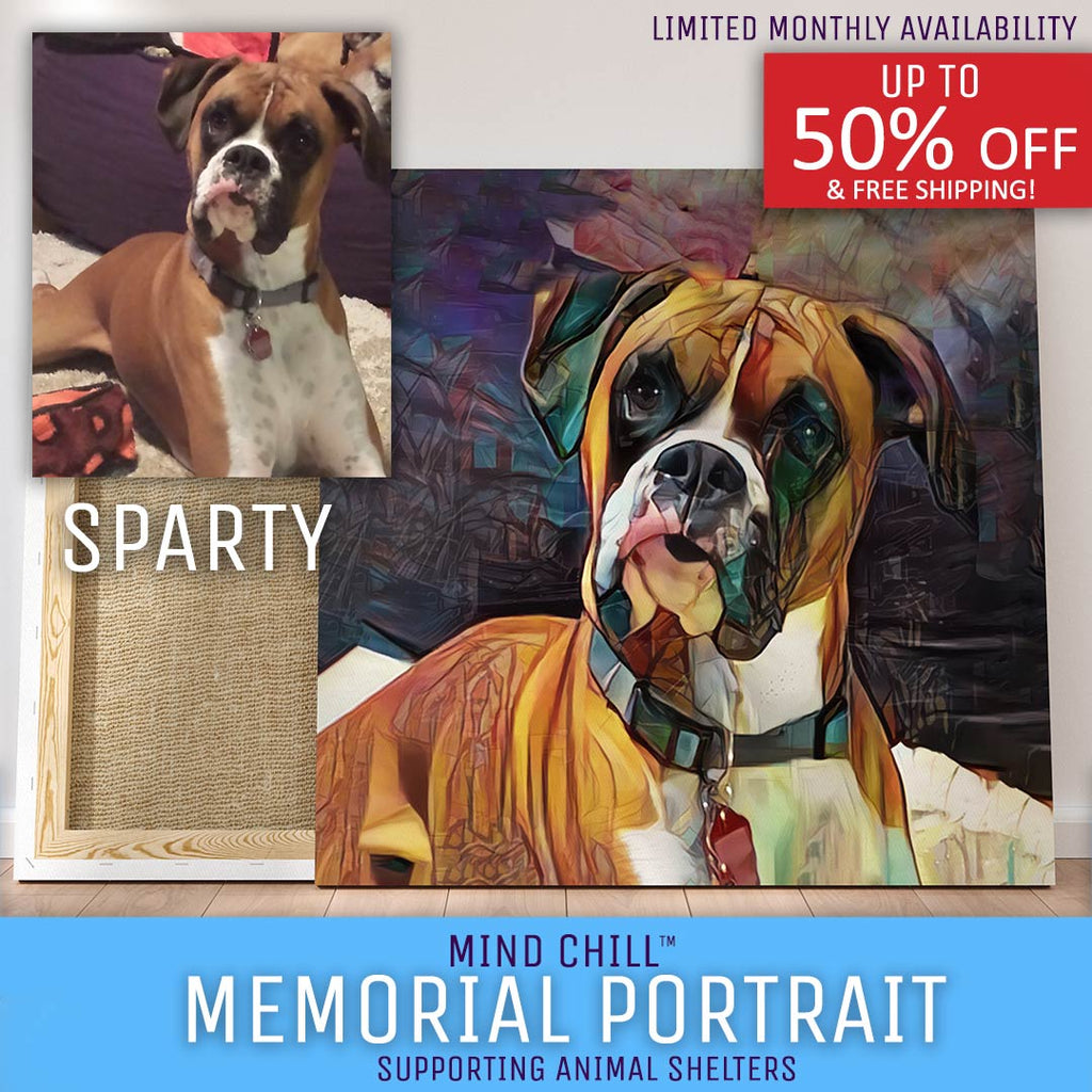 Memorial Stained Glass Paint Style Mind Chill Canvas Dog Portraits - Honor Your Dog & Support Dogs in Need