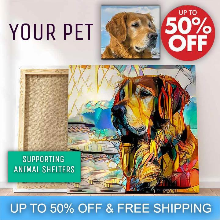 Mind Chill Stained Glass Pet Portrait Canvas | Just Add A Photo | Our Artists Do the Rest!