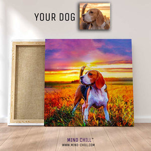 custom pet portrait mind chill canvas art - California sunset style featuring your dog or pet