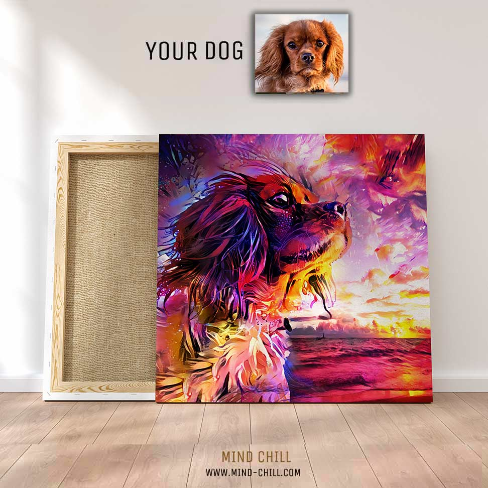 custom pet portrait mind chill canvas art - California sunset style example featuring your dog or pet