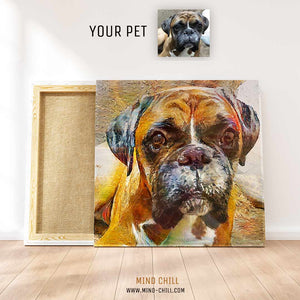 custom modern impressionist oil paint style pet portrait stained glass paint style canvas art - Mind Chill dog portrait