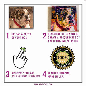 instructions on how to create a custom pet portrait mind chill canvas art - graffiti paint style featuring your dog or pet