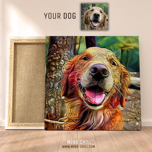Mind chill custom dog portrait canvas featuring your dog!