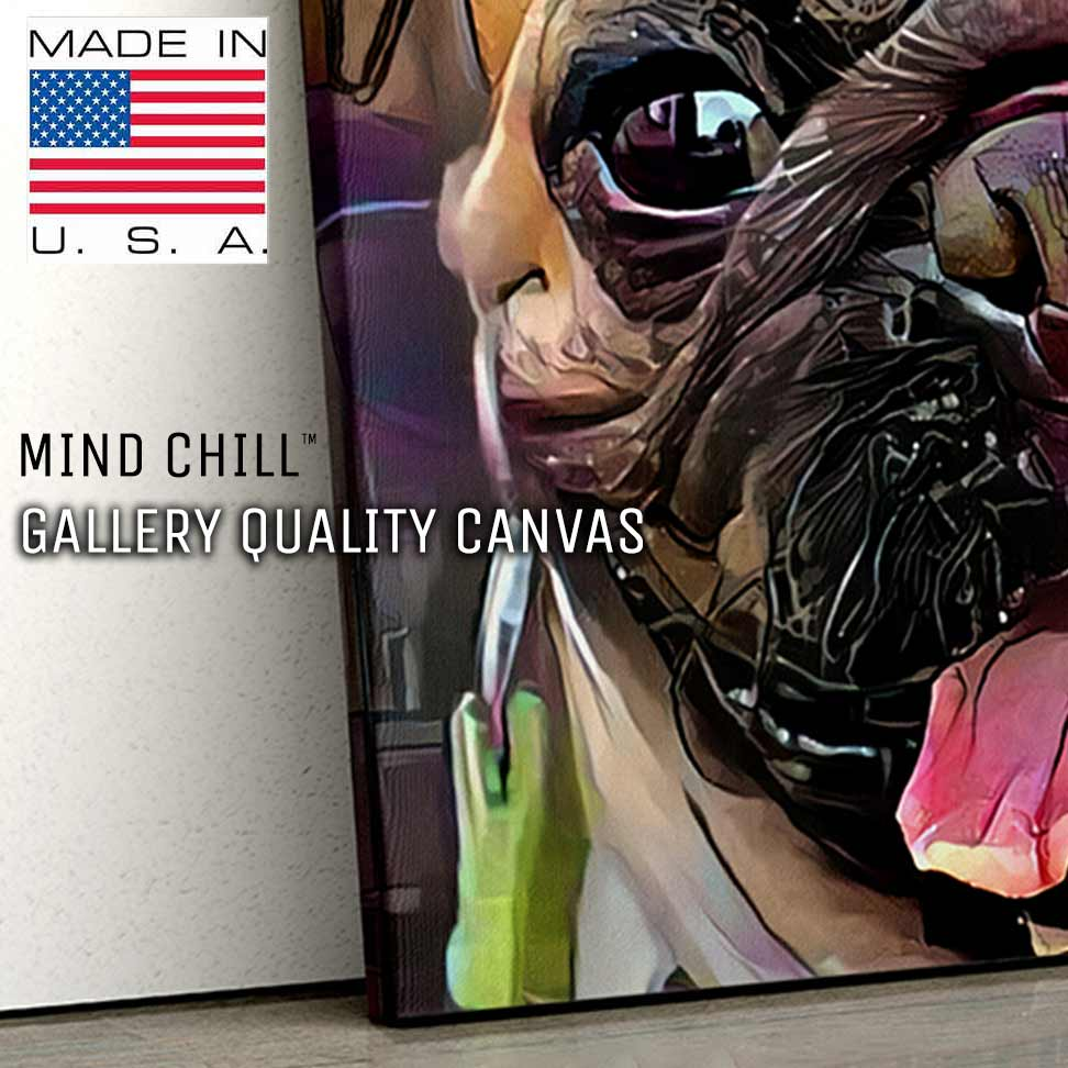 highly detailed close up of mind chill graffiti custom pet portrait canvas