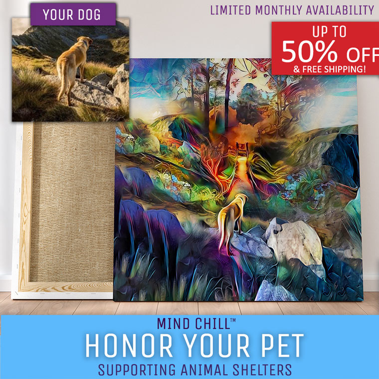 Over The Rainbow Bridge Custom Mind Chill Memorial Pet Portrait Canvas | Just Add A Photo | Our Artists Do the Rest!