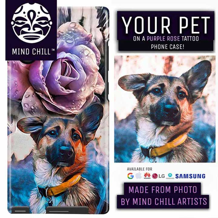 Custom Pet Memorial Phone Case | Purple Rose Tattoo |  By Mind Chill Artists