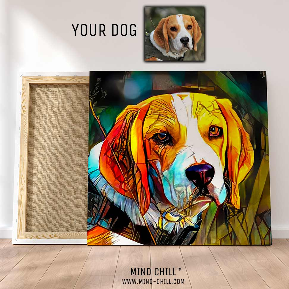 custom pet portrait stained glass paint style canvas art Mind Chill beagle portrait - colorful dog portrait