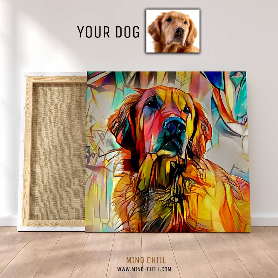 custom pet portrait stained glass paint style canvas art Mind Chill dog portrait - colorful dog portrait