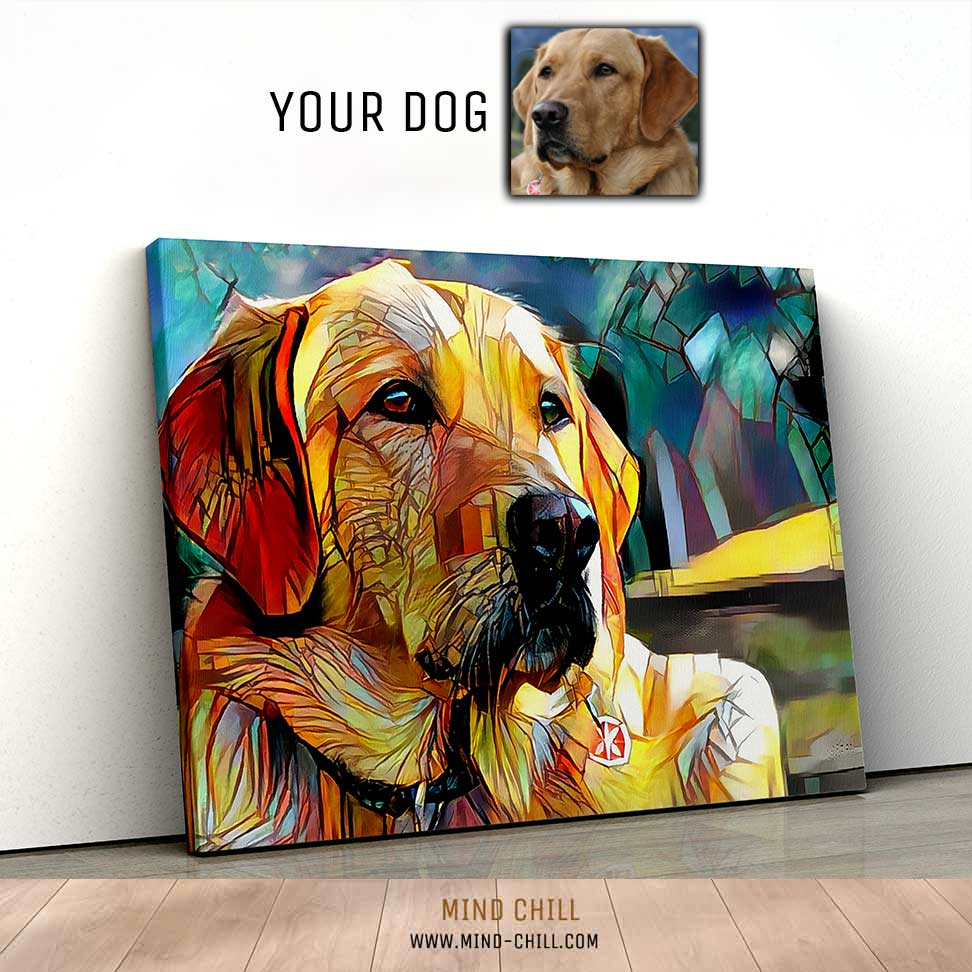 custom pet portrait sunshine stained glass paint style canvas art Mind Chill dog portrait - colorful dog portrait