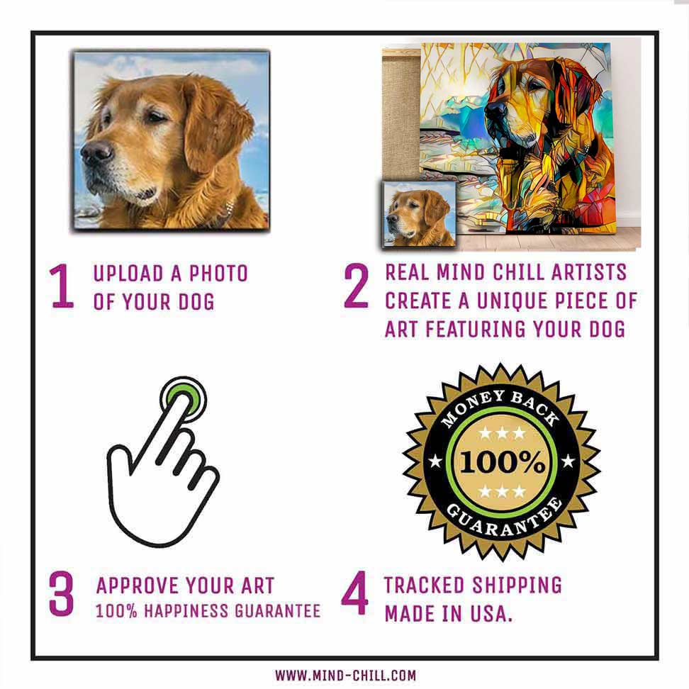 instructions on how to create a custom pet portrait mind chill canvas art - stained glass paint style featuring your dog or pet