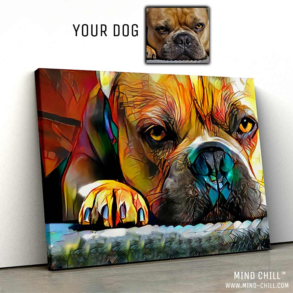 custom pet portrait stained glass paint style canvas art Mind Chill bull dog portrait - colorful dog portrait