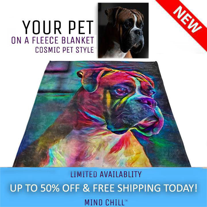 Cosmic Pet Paint Style Custom Pet Blanket | Just Add A Photo | Our Artists Do the Rest!