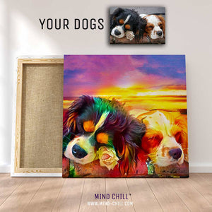 custom pet portrait mind chill canvas art - California sunset style featuring your dog or pet highly detailed example