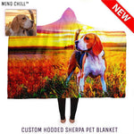 California Sunset Style Custom Hooded Pet Portrait Blanket