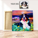 custom pet portrait mind chill canvas art - California sunset style example with border collie featuring your dog or pet