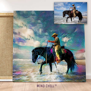 Custom cowboy horse wall art portrait in a rainbow style featuring your horse and made by Mind Chill Artists