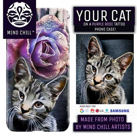 Custom Purple Rose Cat Tattoo Phone Case | Unique Cat Gifts For Cat Lovers