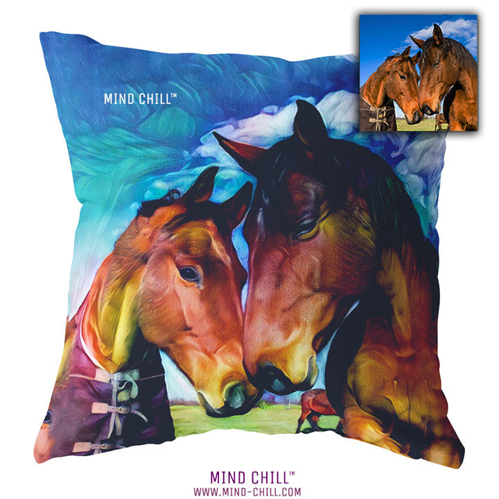 Custom Pet Throw Pillow - Horse Sunset Mind Chill