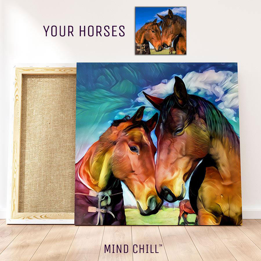 custom horse wall canvas art Mind Chill pet portrait - rainbow paint style