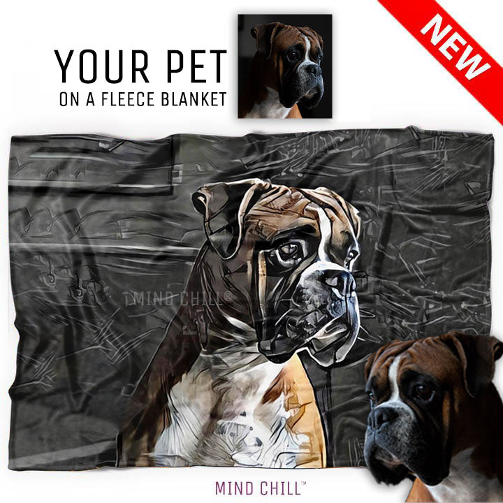 Mind Chill urban graphic style pet blanket featuring your dog or pet - Custom fleece pet blanket and Personalized pet blanket.