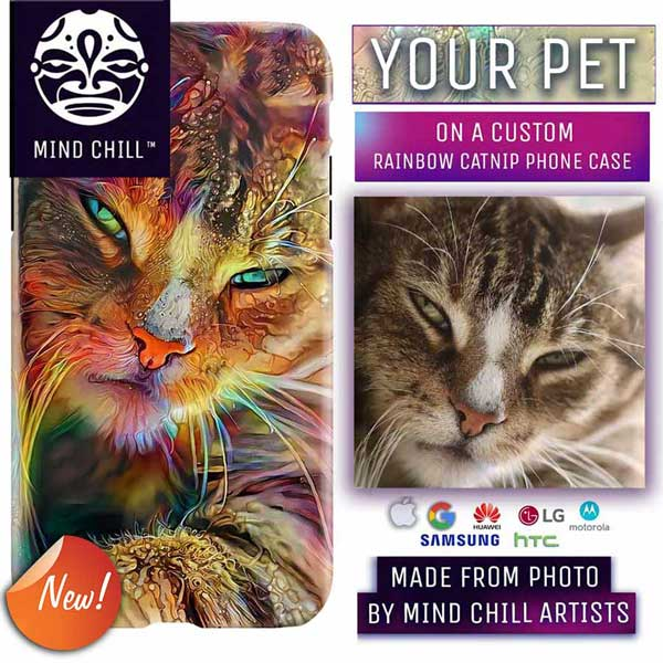 Custom Rainbow Cat Portrait Phone Case | Unique Cat Gifts For Cat Lovers