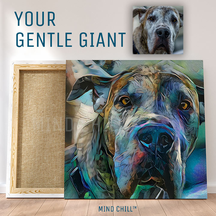 custom pet portrait, custom pet portrait canvas, custom pet portrait from photo, your gentle giant custom pet portrait