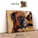custom tribal style pet portrait canvas art - Mind Chill dog portrait