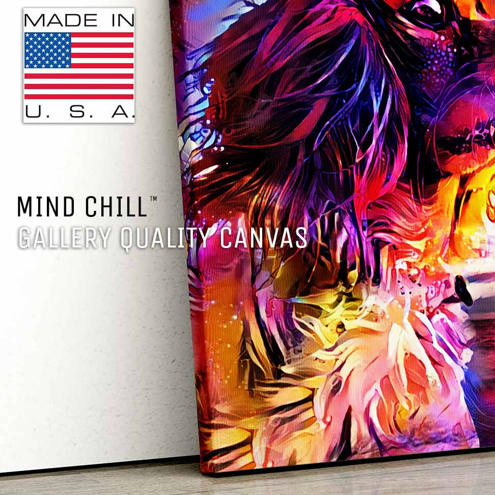 highly detailed custom pet portrait mind chill canvas art - California sunset style featuring your dog or pet